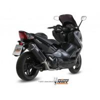 Ligne complète MIVV Speed Edge inox silencieux acier noir/casquette carbone Yamaha T-Max 500