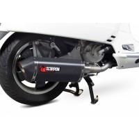 Ligne complète SCOPRION Serket inox silencieux noir céramique/casquette noir ABS Piaggio Vespa GTS 125