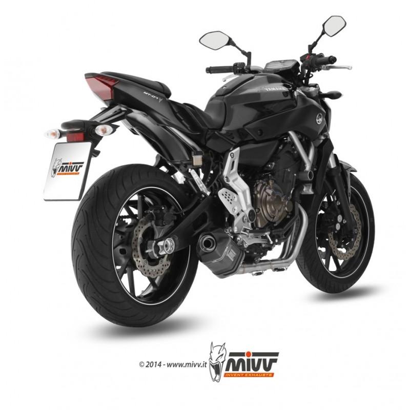 Ligne complète MIVV Speed Edge inox silencieux acier noir/casquette carbone Yamaha MT-07