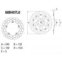 Disque de frein arrière Brembo Serie Oro rond fixe type 68B407L0