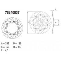Disque de frein avant Brembo Serie Oro rond semi-flottant type 78B40837