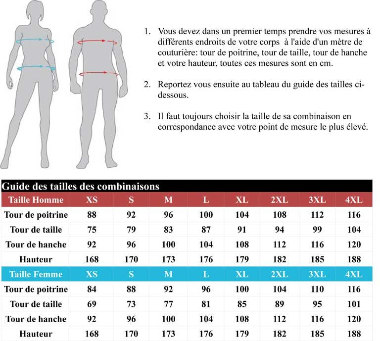 Guide des tailles combinaison ixon