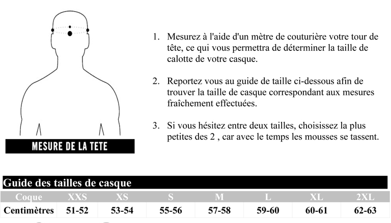 guide des tailles casque Icon